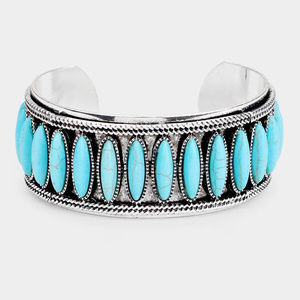 Natural Stone Statement Tribal Cuff Bracelet